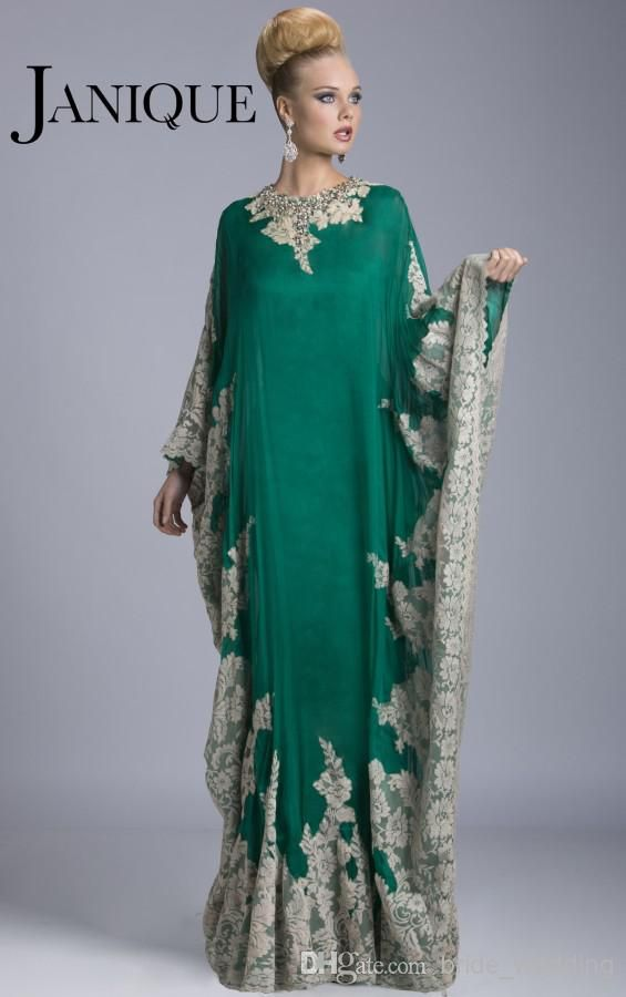 Plus Size Teal Green Dubai Abaya Evening Gowns High Neck Mother Of The Bride  Dresses Lace Chiffon Beads Batwing Long Sleeves Janique JQ3309 Online with  ... 180ead563290