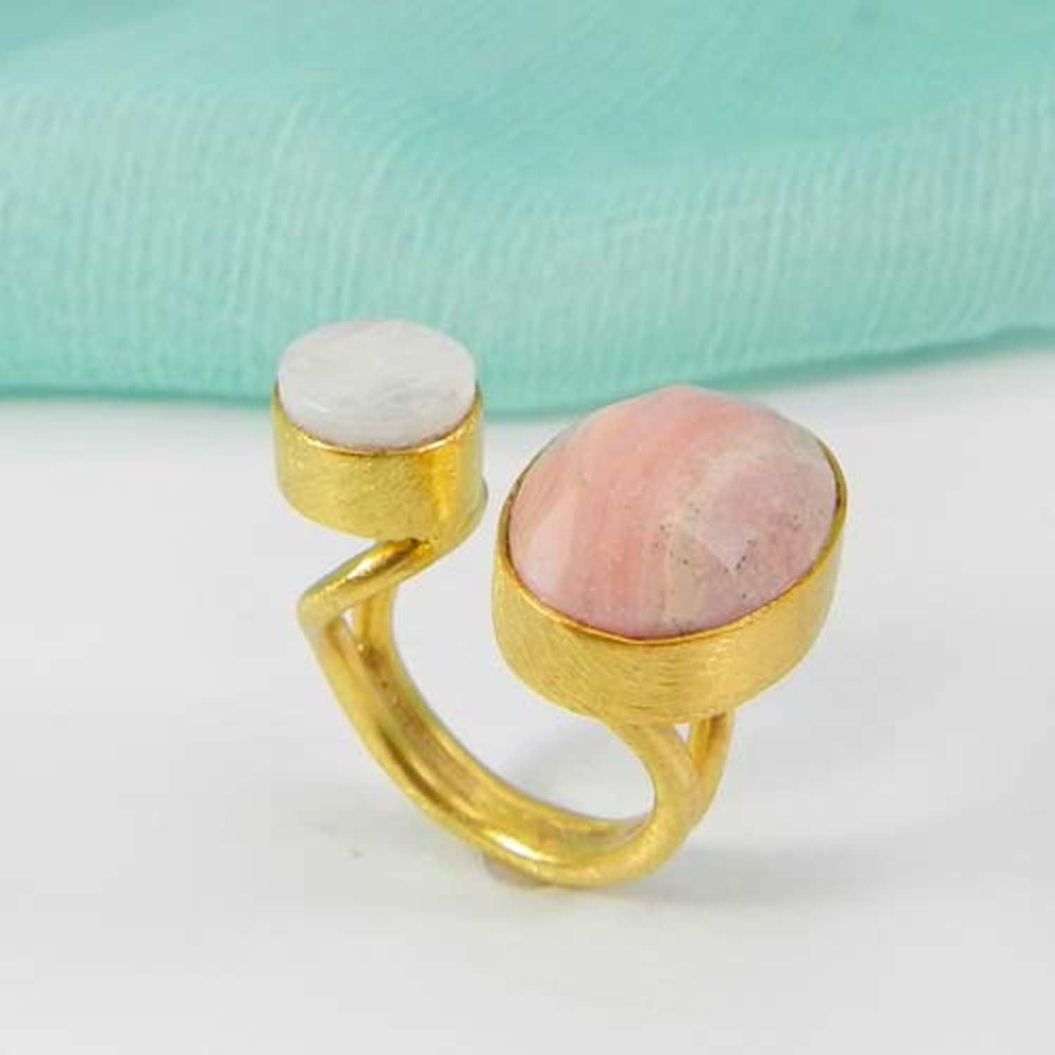 Double Adjustable Rose Quartz and Jasper Gold Plated Ring