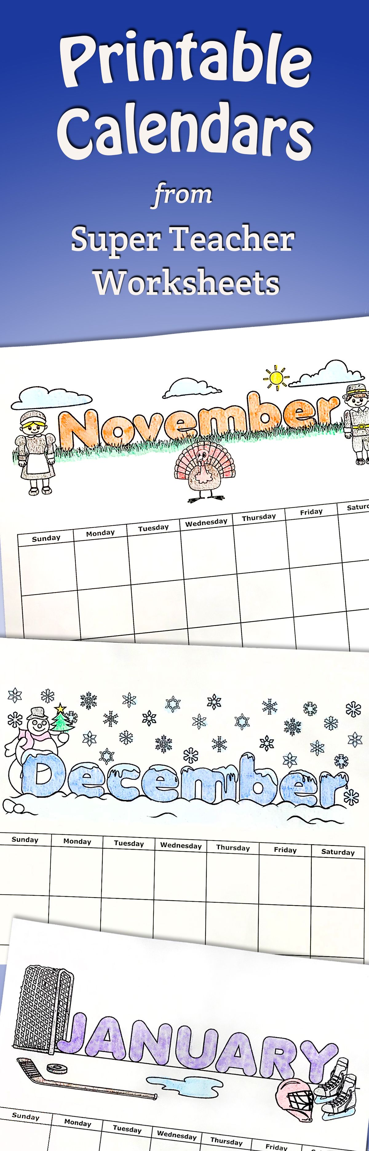 Print Out Monthly Calendars From Superteacherworksheets