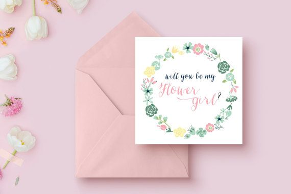 Ask your flower girl to be part of your special day with this floral card. Write a personal note on the inside! Will You Be my Flower Girl Card - Mint, Blush and Navy.  #flowergirl #floralwedding #wedding #card #floralcard #flowergirlcard