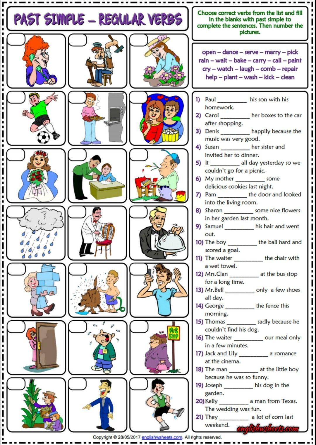 Simple Past Tense with Regular Verbs ESL Worksheet | Esl Printable ...