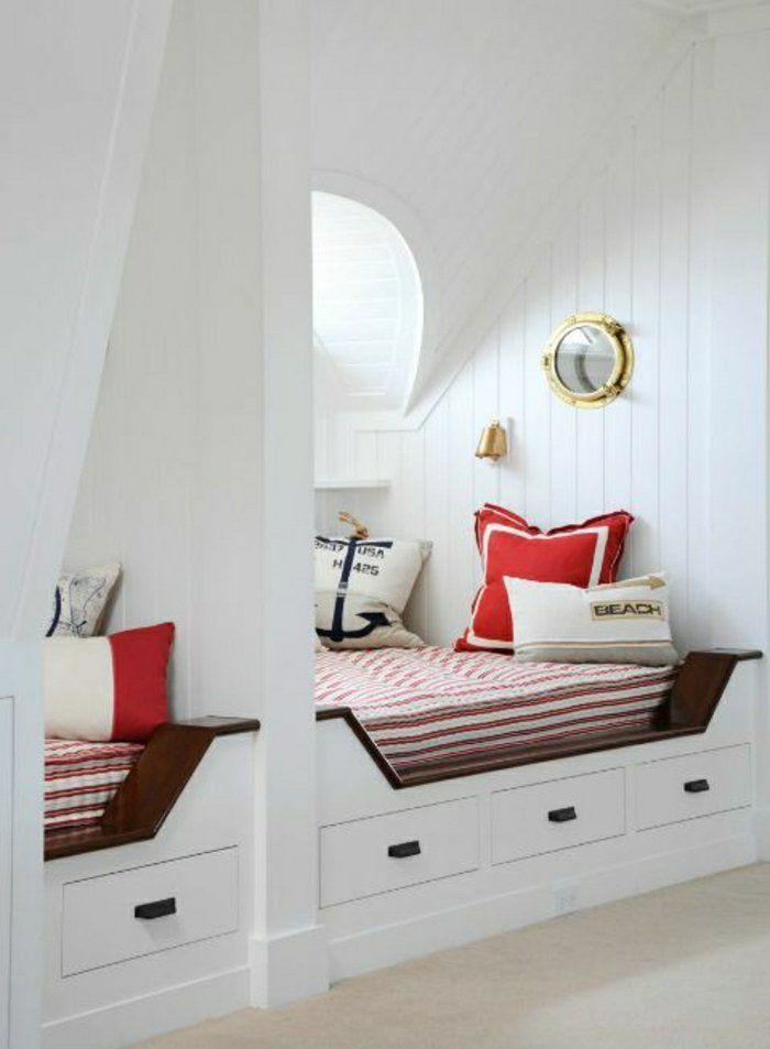 meuble marin chambre de style marin deco bord de mer murs blancs chambre insolite