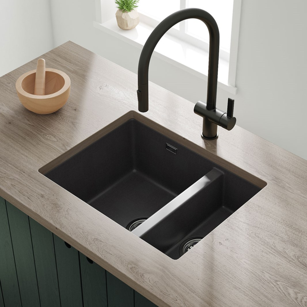 Vellamo Terra 1 5 Bowl Granite Composite Inset Undermount Kitchen Sink Waste Kit 555 X 460mm In 2020 Shower Fittings Small Kitchen Sink Sink