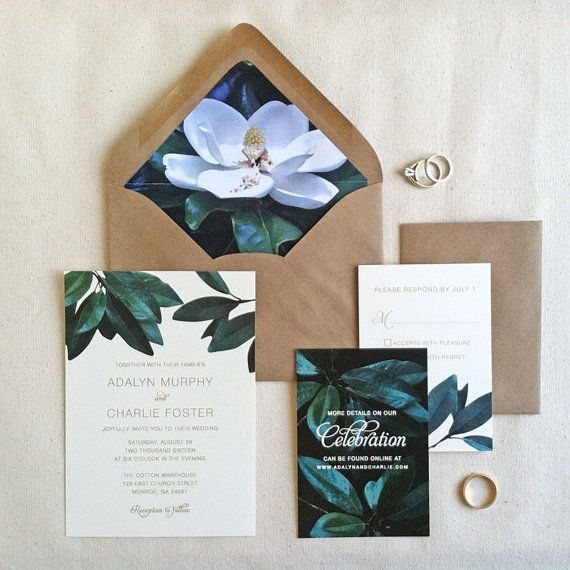 Rustic Southern Wedding Invitation Sample Magnolia Set Kraft Envelopes Printed USD By LilyandJude