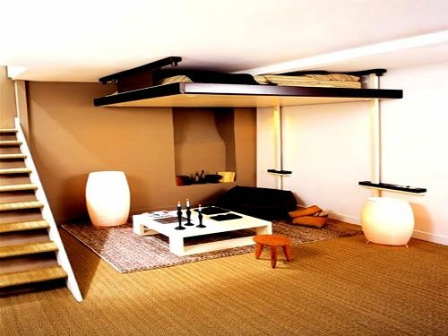 A Bed That Drops Down From The Ceiling. Very Creative Way To Solve A  Studio. Small Home DesignSmall Bedroom ...