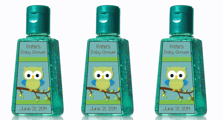 Custom Boy Baby Shower Owl Hand Sanitizer Labels Por