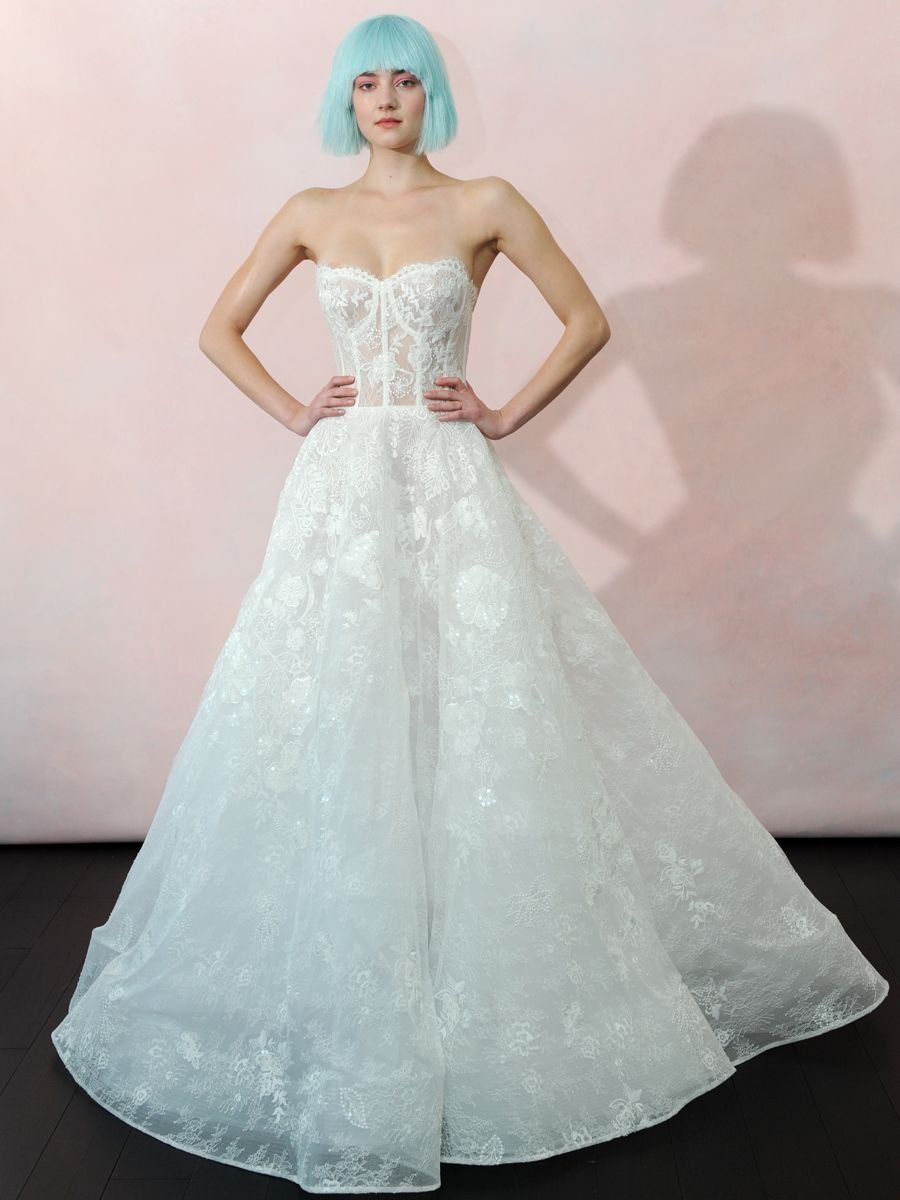 5936572bf0dc Isabelle Armstrong Spring 2019 Collection soft ball gown with open-lace  embroidered corset