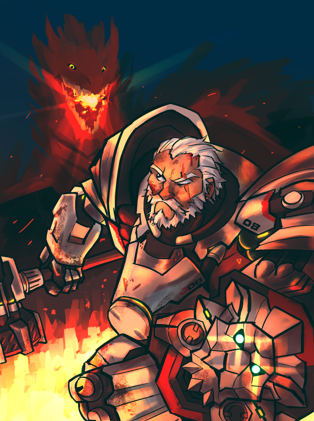 Hurricane Artstuff Just One More Tribute To This Epic Lion Grandpa Overwatch Fan Art Game Art