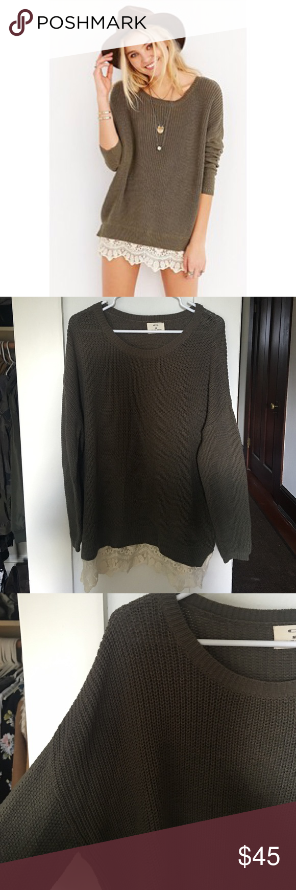 Lace sweater Never been worn just been sitting in my closet doesn't fit me right.  No trades or modeling please! Brand is pins and needles. Urban Outfitters Sweaters Crew & Scoop Necks
