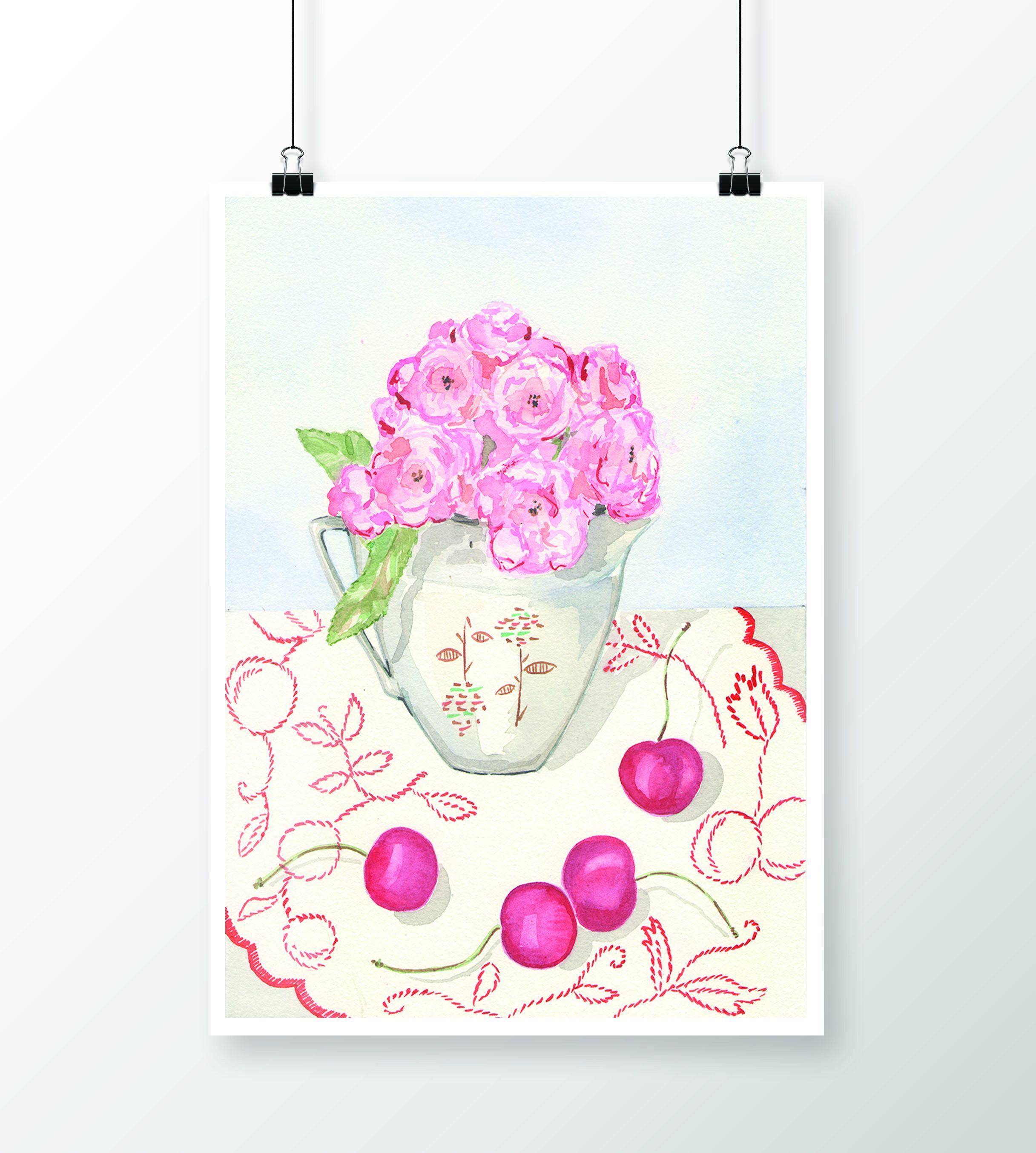 simply awesome pink roses watercolor original tamara jare