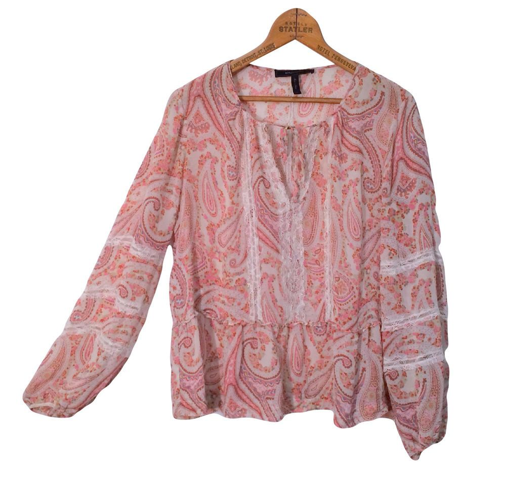 "BCBG MAX AZRIA $198 Cerise Printed Silk Peasant Top Sz M Boho Sheer  Medium 40""  #BCBGMAXAZRIA #Blouse #Casual"