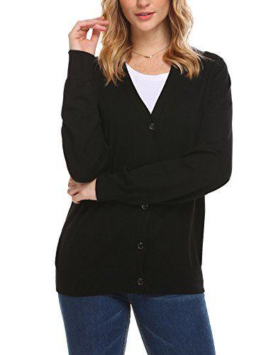 417d11a277 Women s V Neck Button Down Long Sleeve Soft Knit Cardigan Sweater ...