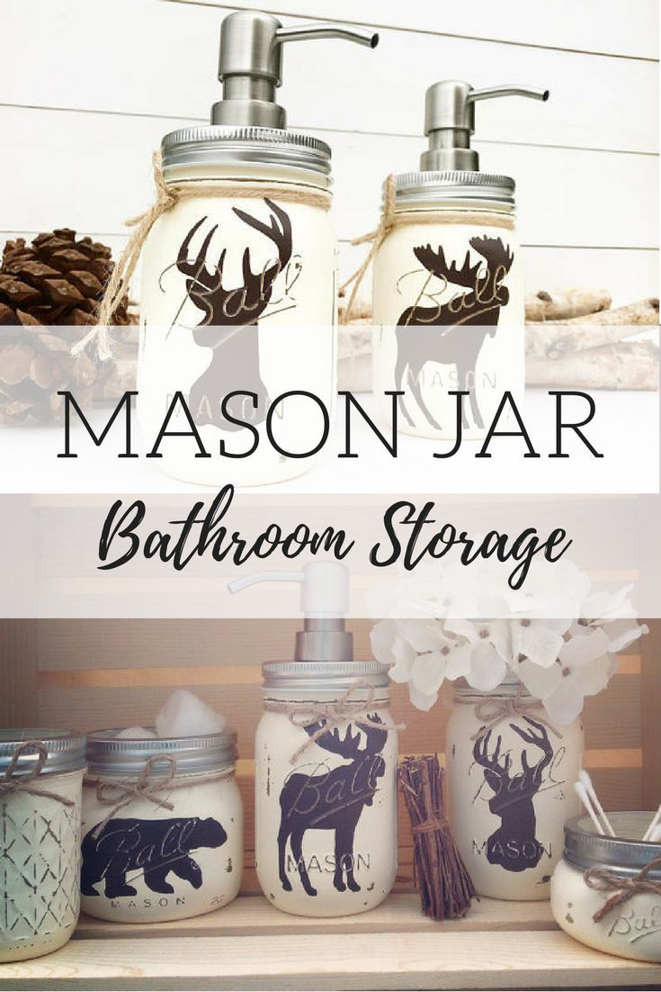Woodland rustic mason jars for bathroom organization and decor. Love ...