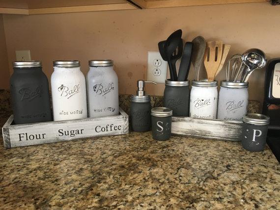Mason Jar Utensil Holder Mason Jar Kitchen Set By Dandecustom Mason Jar Kitchen Mason Jar Diy Mason Jar Crafts