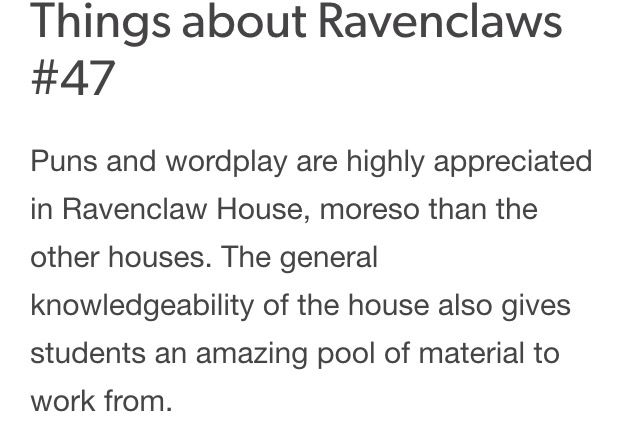 Things About Ravenclaws