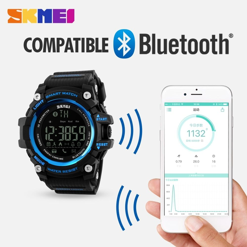 SKMEI Smart Bluetooth Sports Watch Fitness Tracker Calorie Pedometer Waterproof Men's Watches LED Digital Smart Wrist watch #sportswatches
