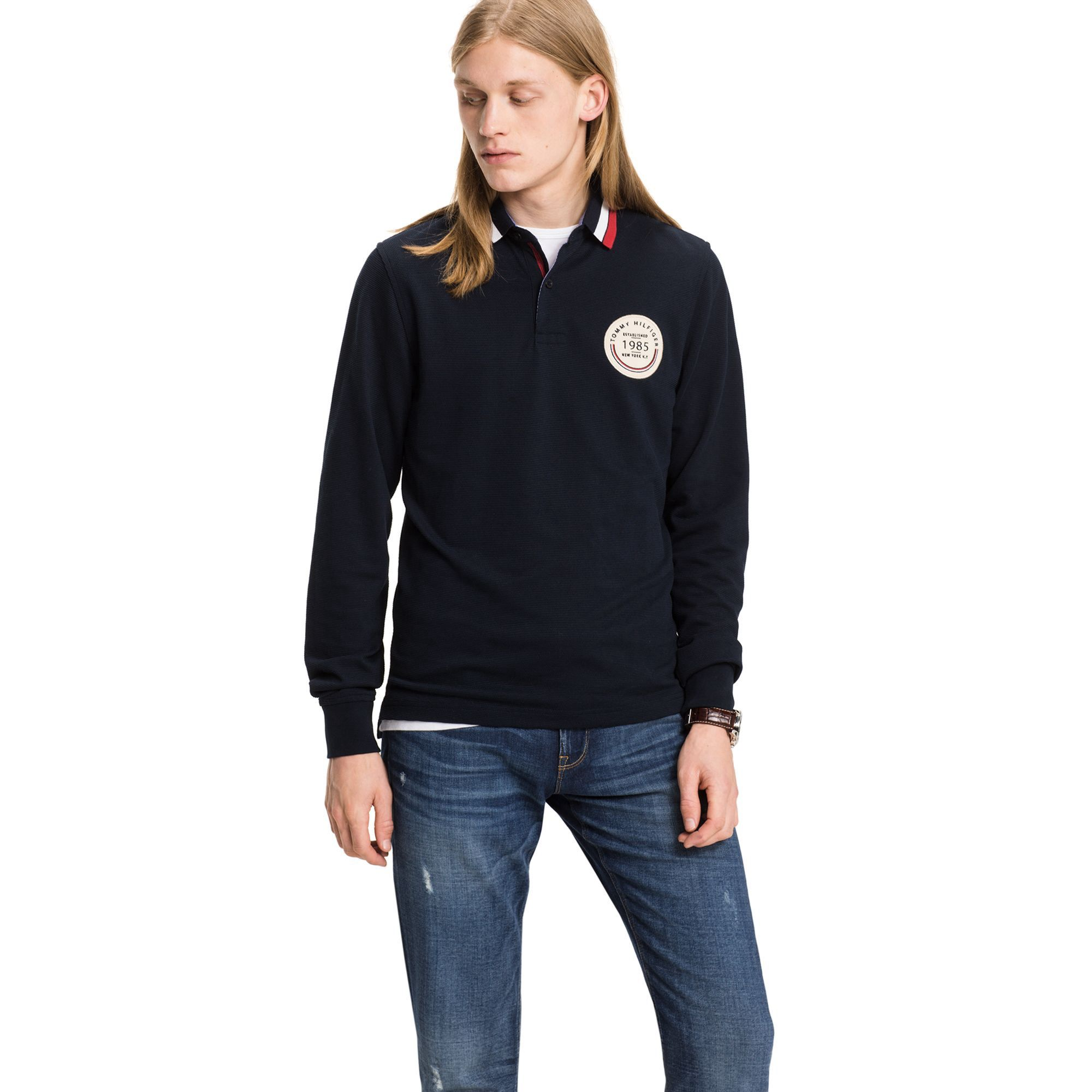 TOMMY HILFIGER SLIM FIT LONG-SLEEVE POLO - SKY CAPTAIN.  tommyhilfiger   cloth   faadd4439a129