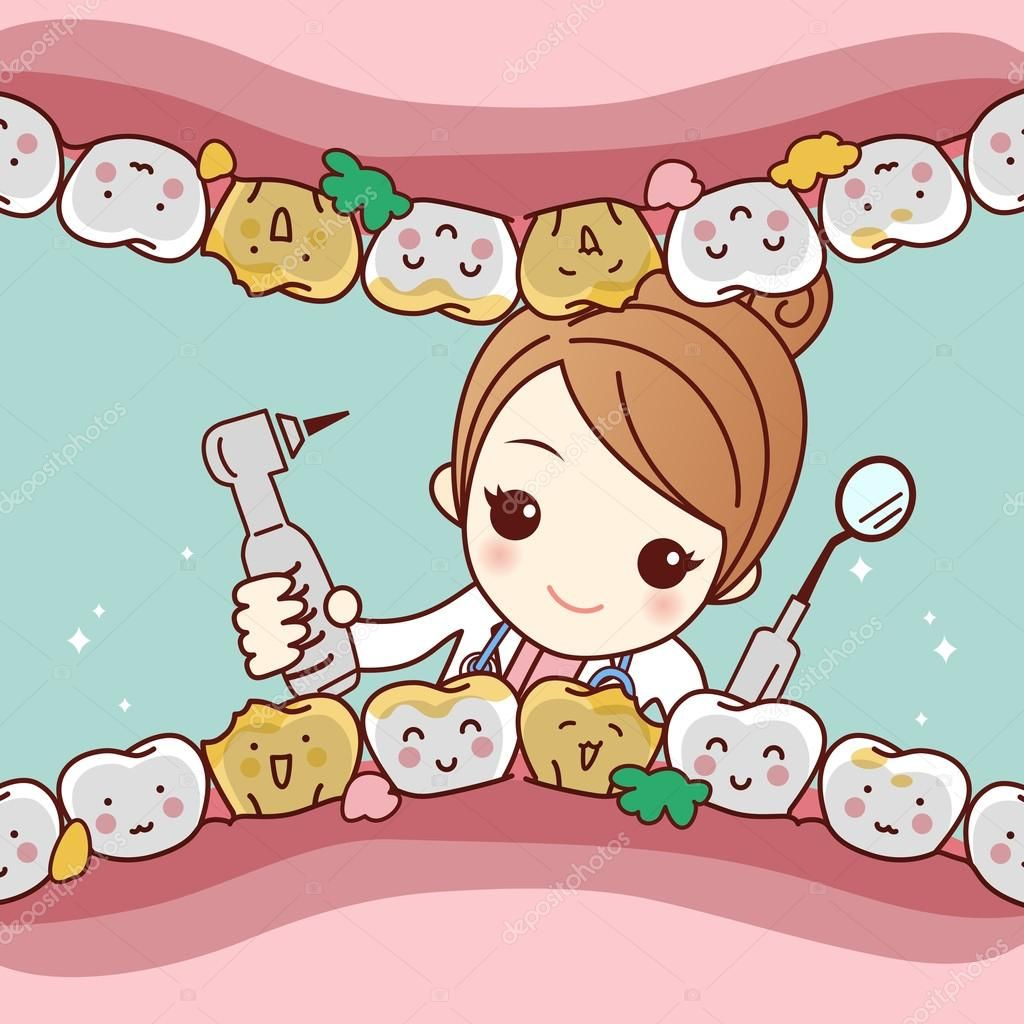 Download Royalty Free Happy Cartoon Tooth Friend With Dentist Doctor And Her Equipment Tool Great For Health Dental Ca Dentist Cartoon Dental Kids Dentist Art