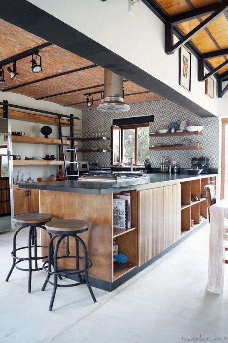 40 Wondrous Industrial Kitchen Design Ideas Industrial Decor Kitchen Industrial Kitchen Design Rustic Industrial Kitchen