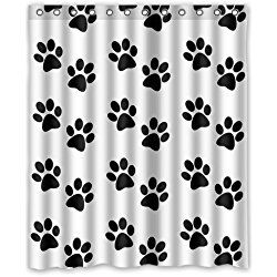 dog paw prints bathroom shower curtain with 12 hooks 60w x 72 - Hundedusche Ring