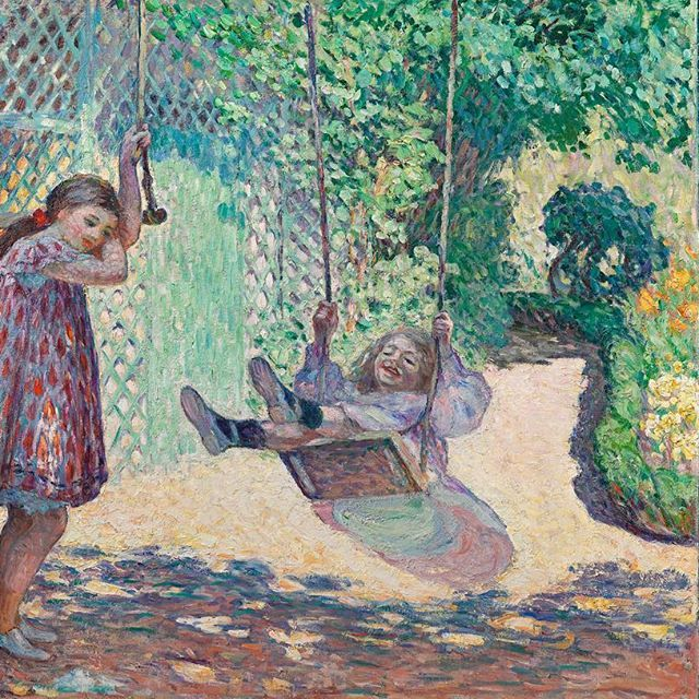"""Henri Lesbasque, most charming of the Post-Impressionists, was born on this day in 1865. Favourite subjects are his young daughters Marthe and Helene, shown here in the sun-dappled garden of their home in Lagny on the Marne. Read more about """"L'Escarpolette"""", 1906, at  www.richardgreen.com  #RichardGreenGallery #RichardGreen #BornOnThisDay #Birthday HenriLesbasque #Lesbasque #PostImpressionist"""