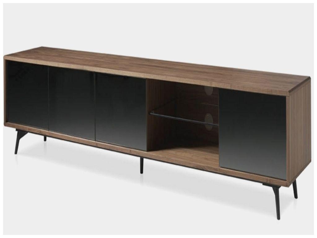 luxe meuble tv bois et verre noir