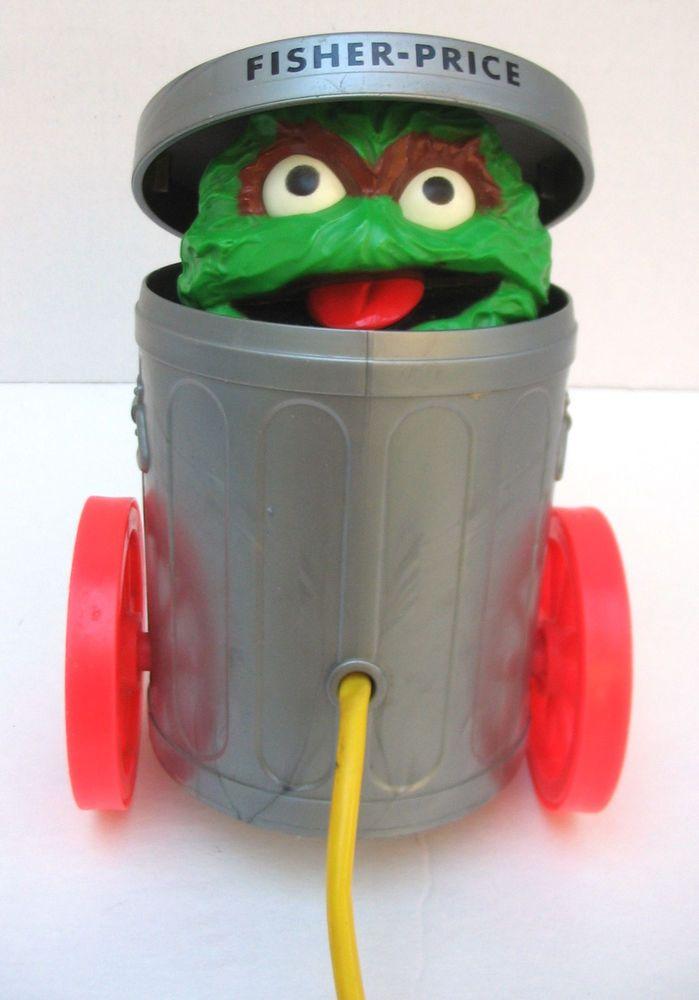 Vintage Fisher Price Sesame St Oscar Grouch Pop Up Trash