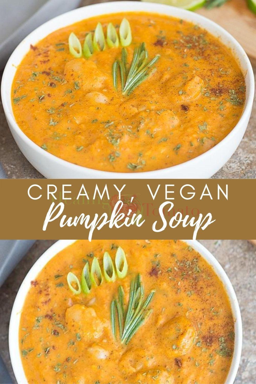 Vegan Pumpkin Soup With Butter Beans Healing Tomato Recipes Recipe In 2020 Vegan Pumpkin Soup Vegan Soup Recipes Vegan Pumpkin