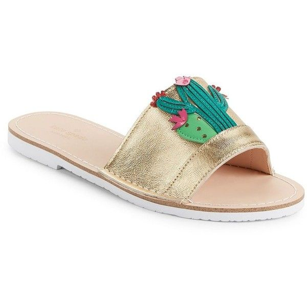 b8a14d168bcf Kate Spade New York Iguana Metallic Leather Slides ( 110) ❤ liked on  Polyvore featuring