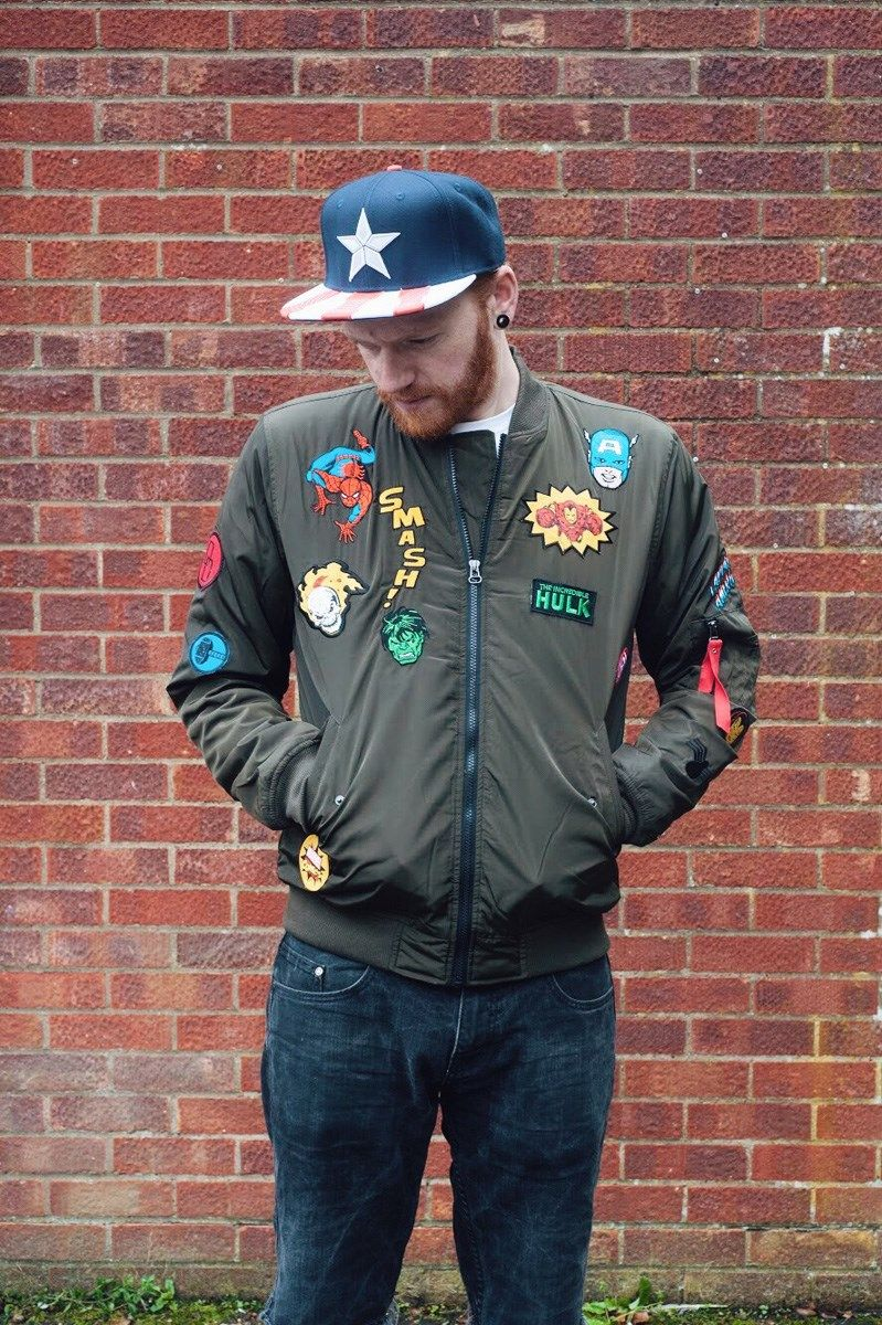 3171deab59b Turn yourself into a patchwork superhero with this epic green bomber jacket  from Marvel. Featuring patches from everyone s favourite comic book  characters ...