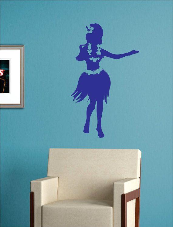 Hula Girl Hawaiian Design Decal Sticker Wall Vinyl Decor Art - brown
