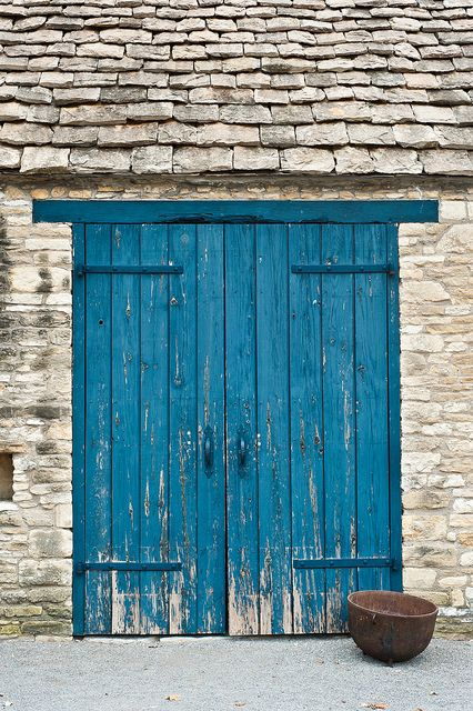 Blue Doors On The Les Of Cotswold Cottage At Greenfield Village In Dearborn Michigan