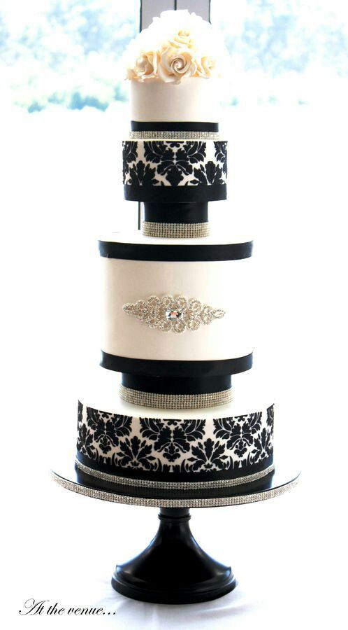 Pin By Frosted999 On Cakes Black And White Wedding Cake Damask Wedding Cake Round Wedding Cakes