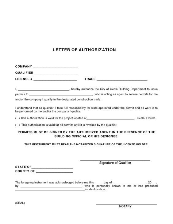 Permit Authorization Letter  Sample Authorization Letter To Process