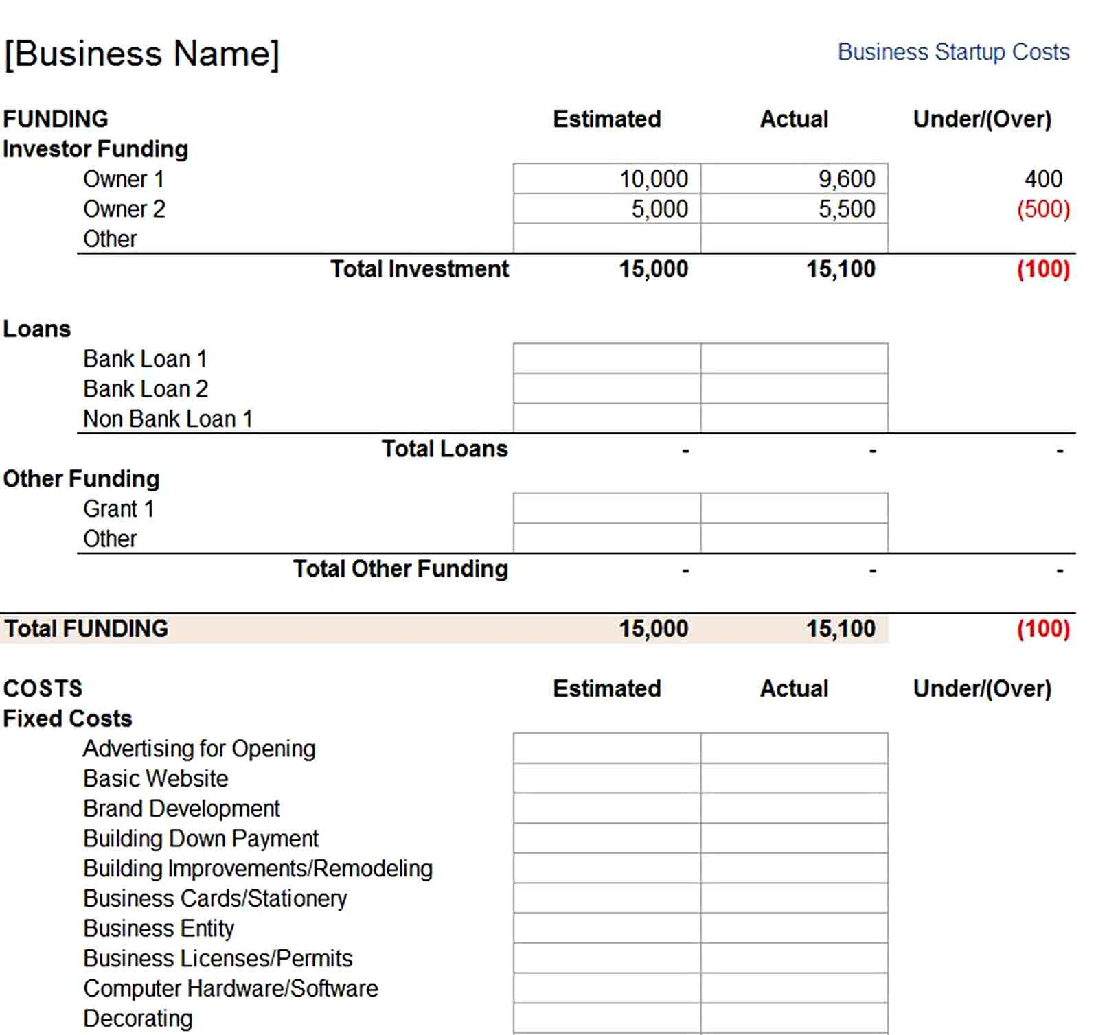 Business Startup Costs Template Start Up Business Start Up Business Plan Template Business plan startup costs template