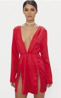 f088c7ebd4f Red Satin Plunge Split Detail Bodycon Dress