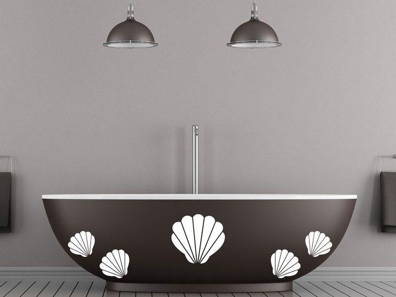 Wandtattoo - 57x57cm Wandtattoo Set Badezimmer Muscheln - ein - wandtattoo für badezimmer