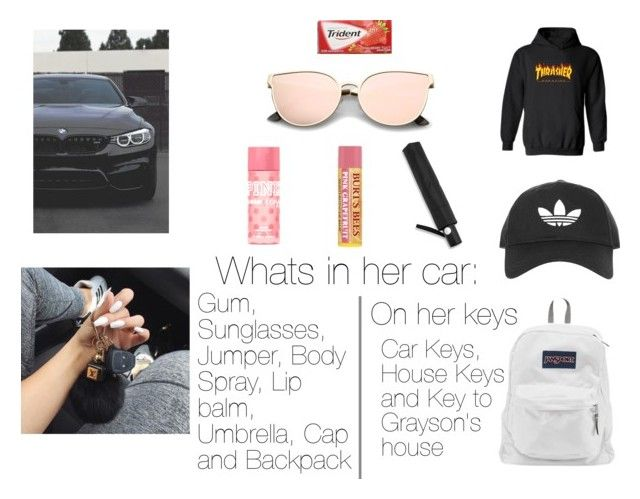 """""""Jordan's Car"""" by fayth-maddie-14-27-01-02 ❤ liked on Polyvore featuring BMW, WithChic, Topshop, JanSport, Victoria's Secret PINK and Burt's Bees"""