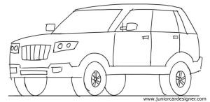 Suv 3 4 Front View Drawing
