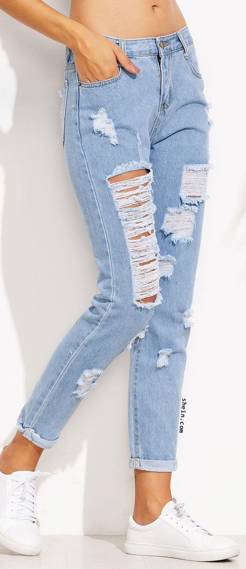 Extreme Distressed Roll Hem Boyfriend Jeans Cute Ripped Jeans Ripped Jeans Outfit Cute Casual Outfits