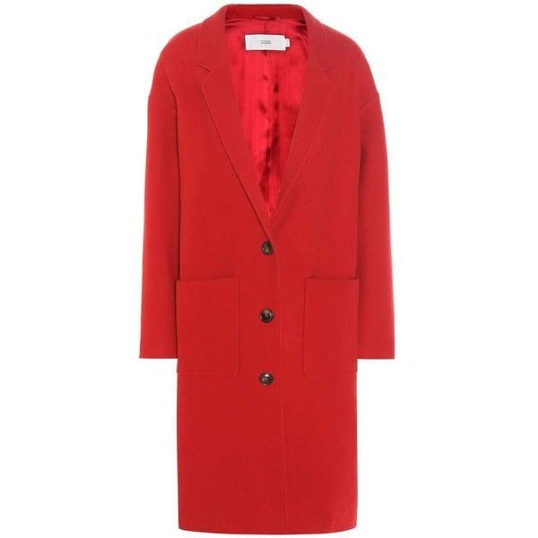 Closed Aberdeen Virgin Wool and Cashmere-Blend Coat (€470) ❤ liked on Polyvore featuring outerwear, coats, red, cashmere blend coat and red coat