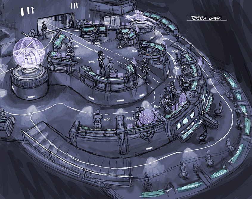 vandread ship starship bridge concept art some character