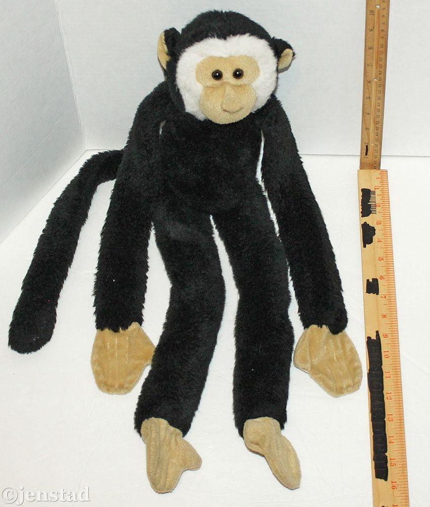 Monkey With Velcro Hands Feet Blk Wht Tan Toy 22 Plush Figure