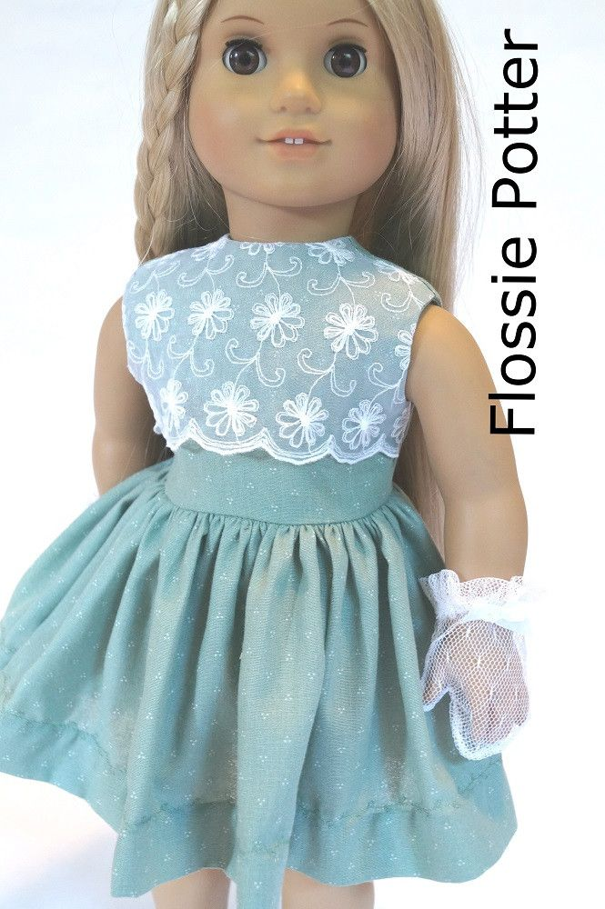 Flossie Potter Little '50s Dress Doll Clothes Pattern 18 inch American Girl Dolls | Pixie Faire