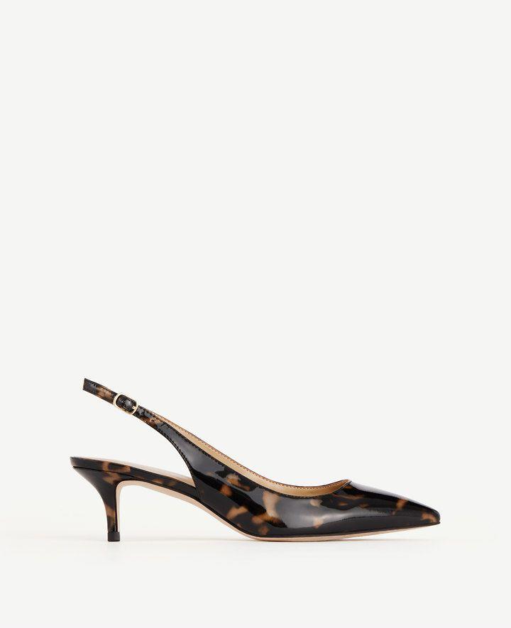 f24f8a3d55e11 Zosia Tortoiseshell Patent Slingback Heels | Ann Taylor | Outfit ...