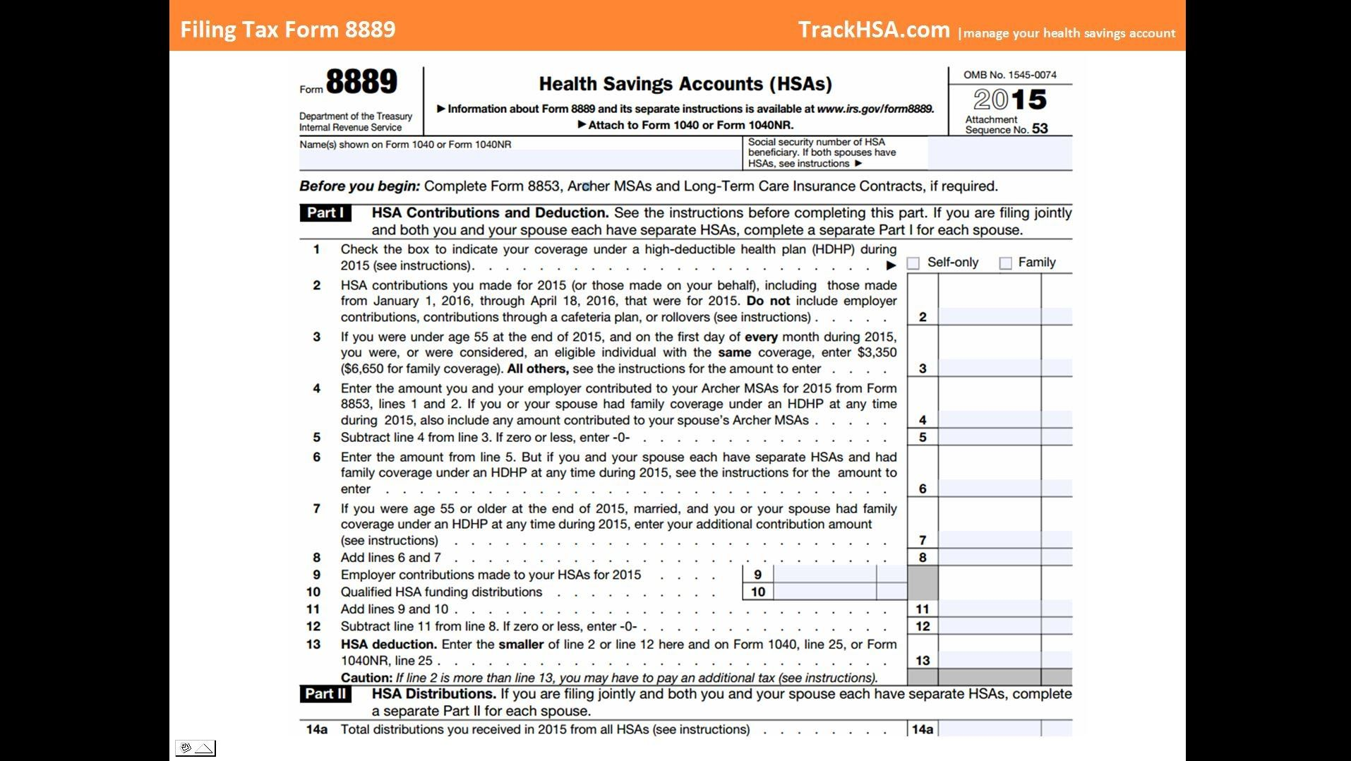 How To File Hsa Tax Form 8889 Tax Forms Filing Taxes Health