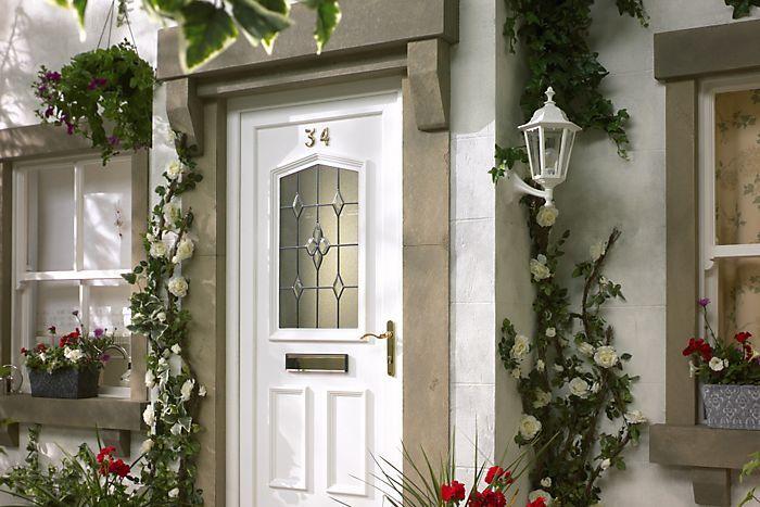 4 Panel Primed Glazed Front Door Frame With Letter Plate H 2074mm W 932mm