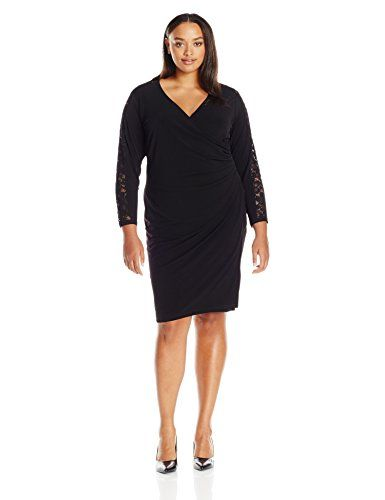 calvin-klein-womens-plus-size-side-ruched-dress-with-lace-insert
