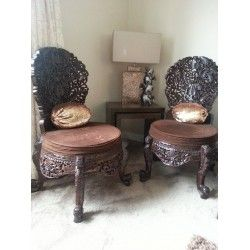 2 Indian Hand Carved Solid Sheesham Wood Chairs. buy online at www.caveonline.co.uk