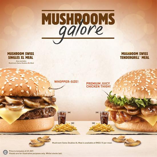Burger King Mushroom Galore Promotion In Malaysia King Mushroom Stuffed Mushrooms Juicy Chicken